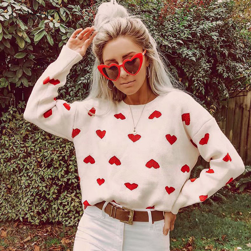 Lossky Knitting Sweater Tops Women Autumn Winter Chenille Long Sleeve Loose Red Pullovers Heart Print Clothing 2019 Leisure