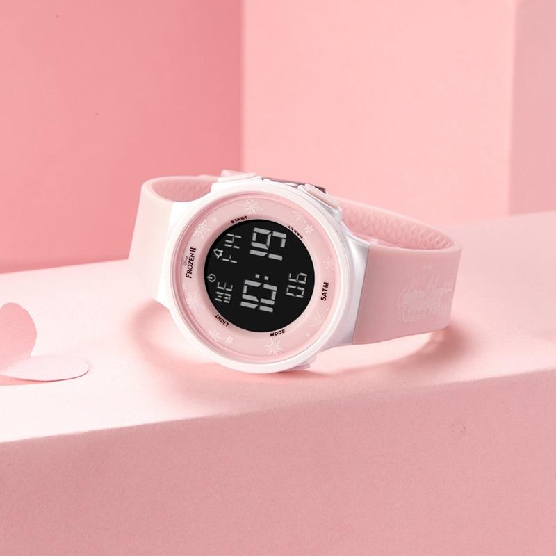Дети цифровые часы для девушки леди резина ремешок светящиеся наручные часы женские простые модные повседневные замороженные милые часы студенты