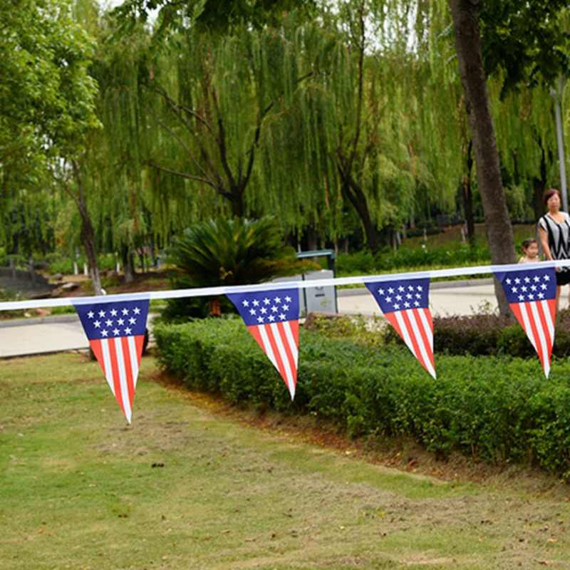 America Wave Flags Banner for Garden Decoration American Flag String America USA Bunting Banner small US flags rope set banners