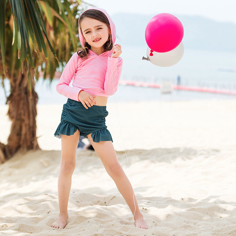Girls' Two-piece Swimsuit Baby Princess Medium-small Children Long Sleeve High-waisted Belly Covering Frill Boxer Beach Swimwear