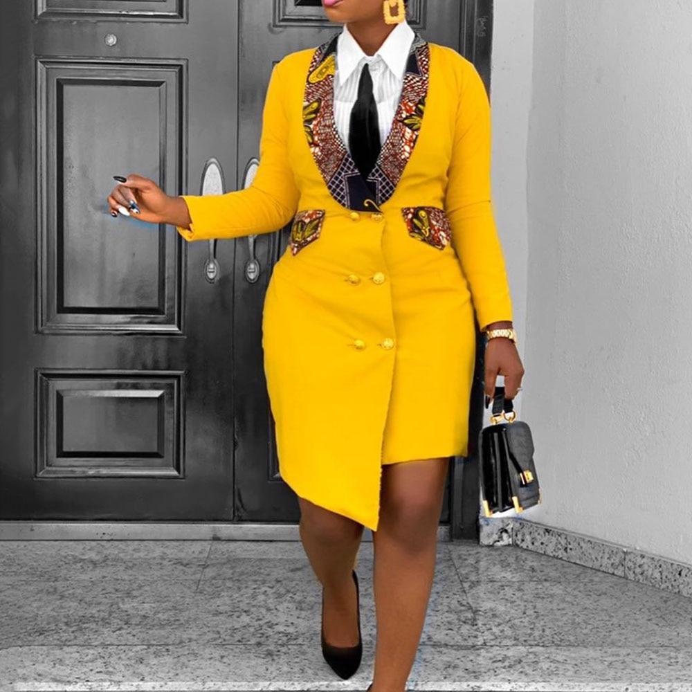 Office Ladies Blazer African Dress 3XL Fashion Style Irregular Spring Long Sleeve Asymmetric Bodycon Plus Size Ankara Dresses