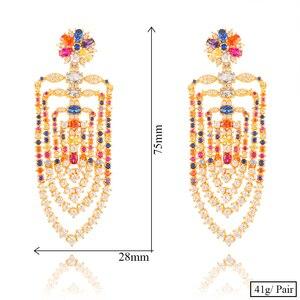 Image 5 - GODKI 75mm MAXI Size Charms Luxury Link Chain Tassel Drop Earring Women Full Mirco CZ Paved Cubic Zircon Wedding Fashion Jewelry