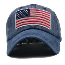 Baseball Cap Letter Embroidery Cotton Hats American Flag Washed Denim Caps Snapback Hip Hop Hat Vintage Unisex