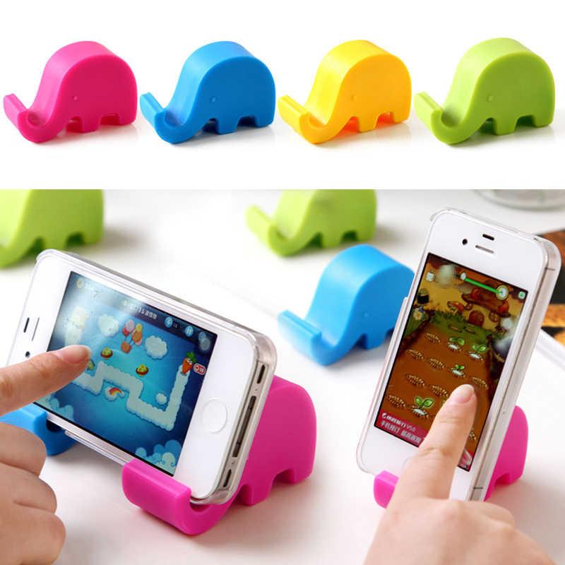 Soporte de escritorio para teléfono móvil de plástico con bonito elefante colorido soporte de mesa soporte estable portátil soporte de escritorio para iPhone iPad Huawei