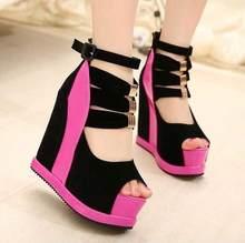 Chaussures d'été authentiques pour femmes, semelles épaisses et talon haut de 14cm, chaussures Sexy à bout ouvert