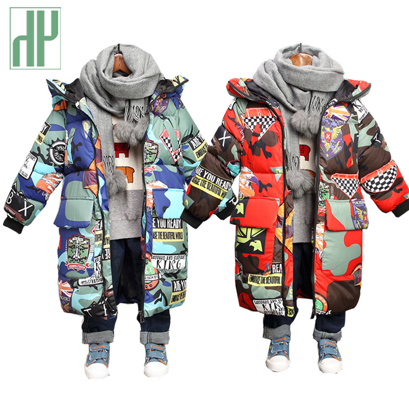 Kids Winter Jacket Hooded Winter Jackets Graffiti Camouflage Parkas For Teenagers Boys Girls Thick Long Coat Kids Clothes