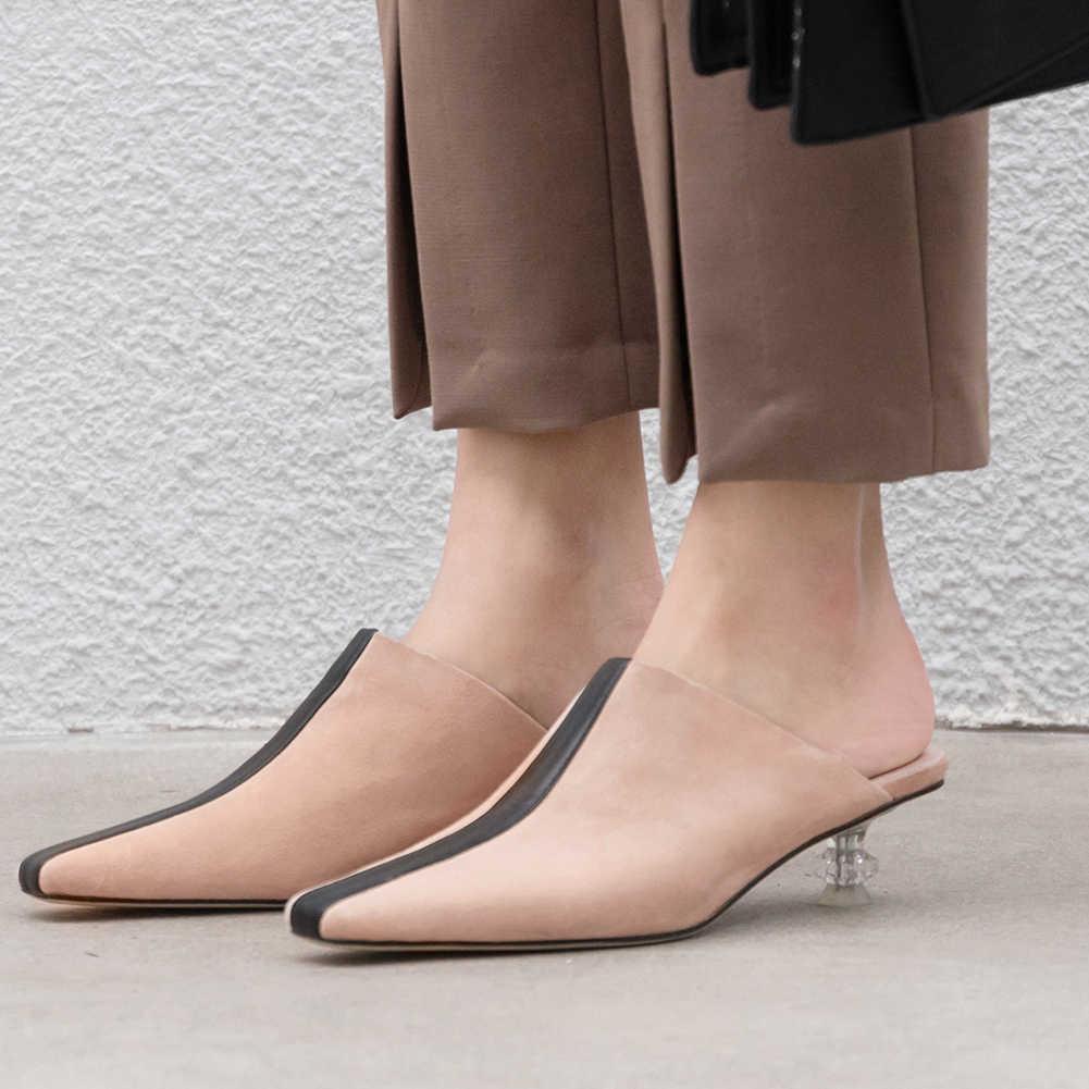KARINLUNA bayanlar yaz tatil slip-on katır Med topuklar doğal süet pompaları kadın yaz konfor deri taban ayakkabı kadın