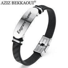 Aziz bekkaoui gravar nome preto ouro pulseira de couro pulseira de aço inoxidável masculino pulseira de jóias presente do vintage para o amigo