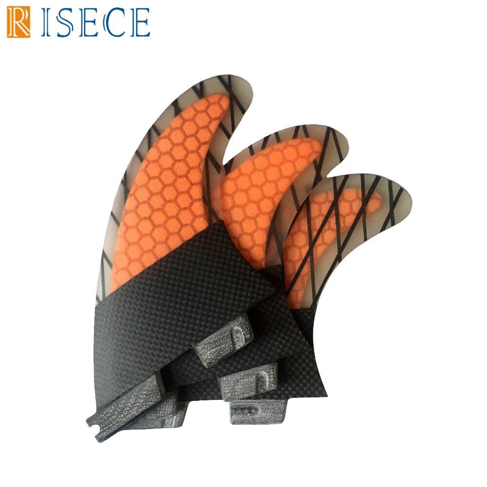 Free Shipping Orange Honeycomb Surfboard Fin Fcs 2 Surf Fins Quilhas Fcs2 Surfboard Fins Carbon Fiber G7 L Size Tri Fins 3pc/set
