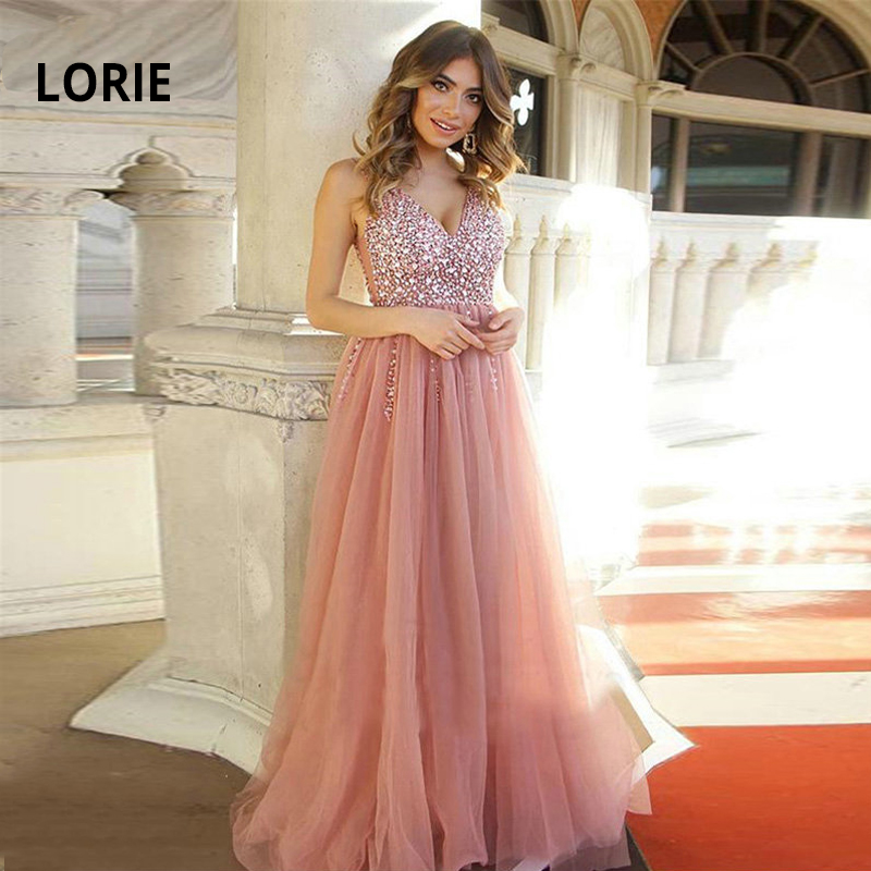 LORIE Luxury Beading Formal Evening Dress For Women Soft Tulle Sexy V-neck Open Back Lacing Prom Dance Evening Pary Gown