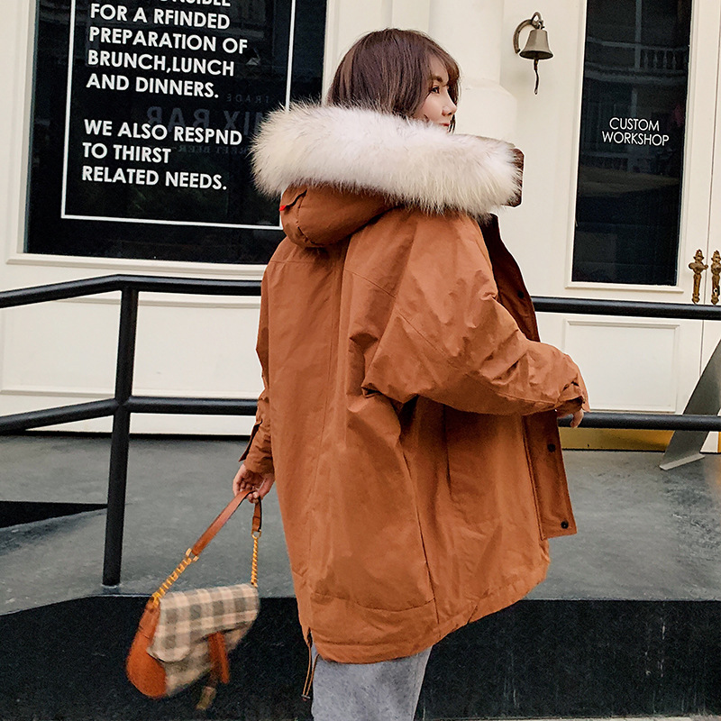 Winter new collection women down jacket thick loose long big scorpion fur collar thick tooling style down jackets woman hooded
