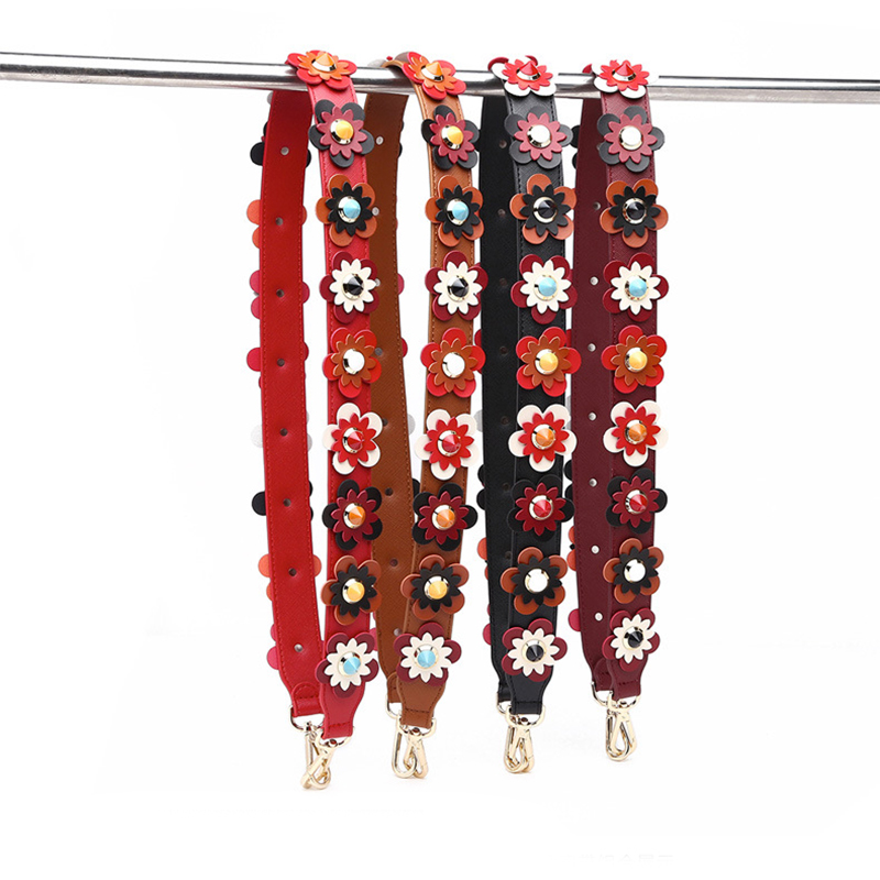 Women PU Colorful Flower Crossbody Bag Strap 105cm Wide Leather Rivet Shoulder Strap Handbag Belt New Color Bag Part Accessories