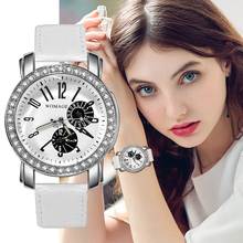 Fashion Casual Womage Watches Women Crystal Leather Band Quartz Wristwatch Ladies horloge dames horloges vrouwen