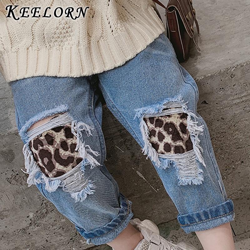 keelorn meninas calcas criancas rasgado buraco leopard calcas de brim 2020 nova primavera criancas jeans quebrado