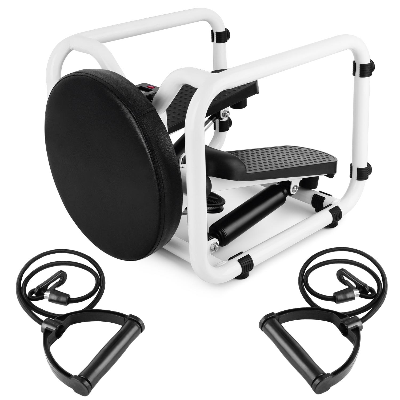 Многофункциональный мини фитнес твист шаговый электронный дисплей домашний тренажер для тренировок кресло с резистивными лентами для брю...