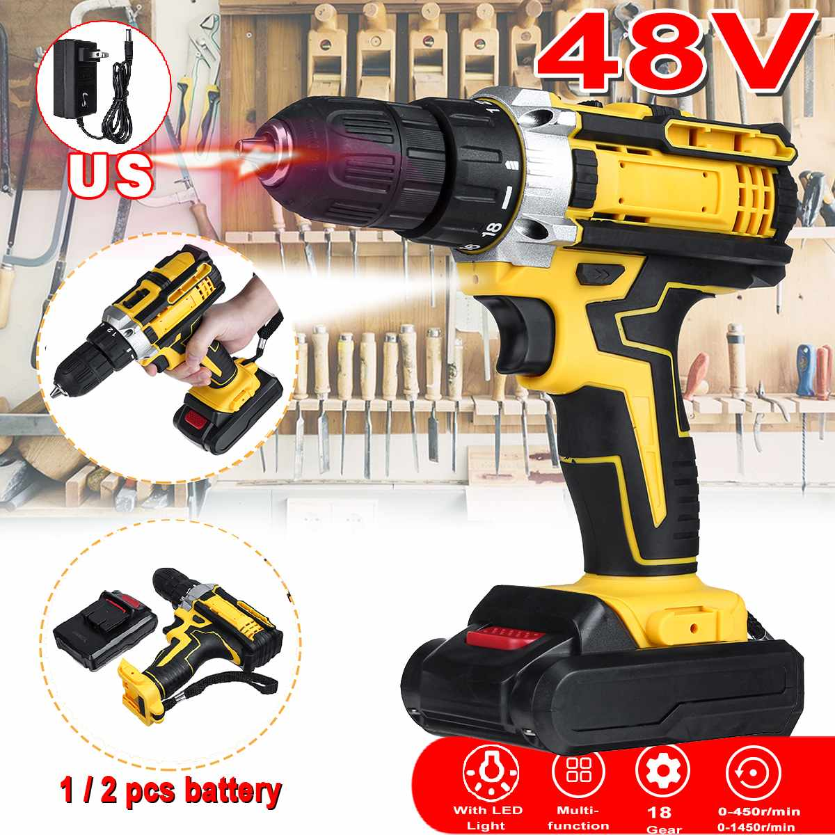 48V 2 Speed Cordless Drill Electric Screwdriver Mini Wireless Power Driver DC Lithium-Ion Battery 18-speed Torque Adjustment