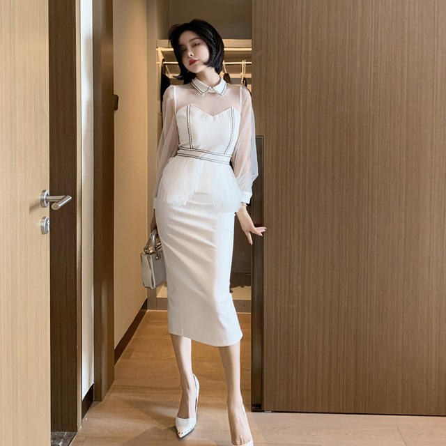 2021 New Women's Sexy Mesh Stitching Bag Arm Slim Temperament Small Dress High Waist Lantern Sleeves 2