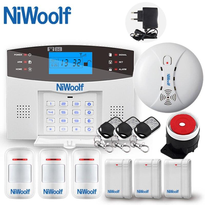 Lcd sem fio gsm sistema de alarme 433 mhz teclado sistema de alarme de segurança em casa com pir sensor de movimento da porta aberta