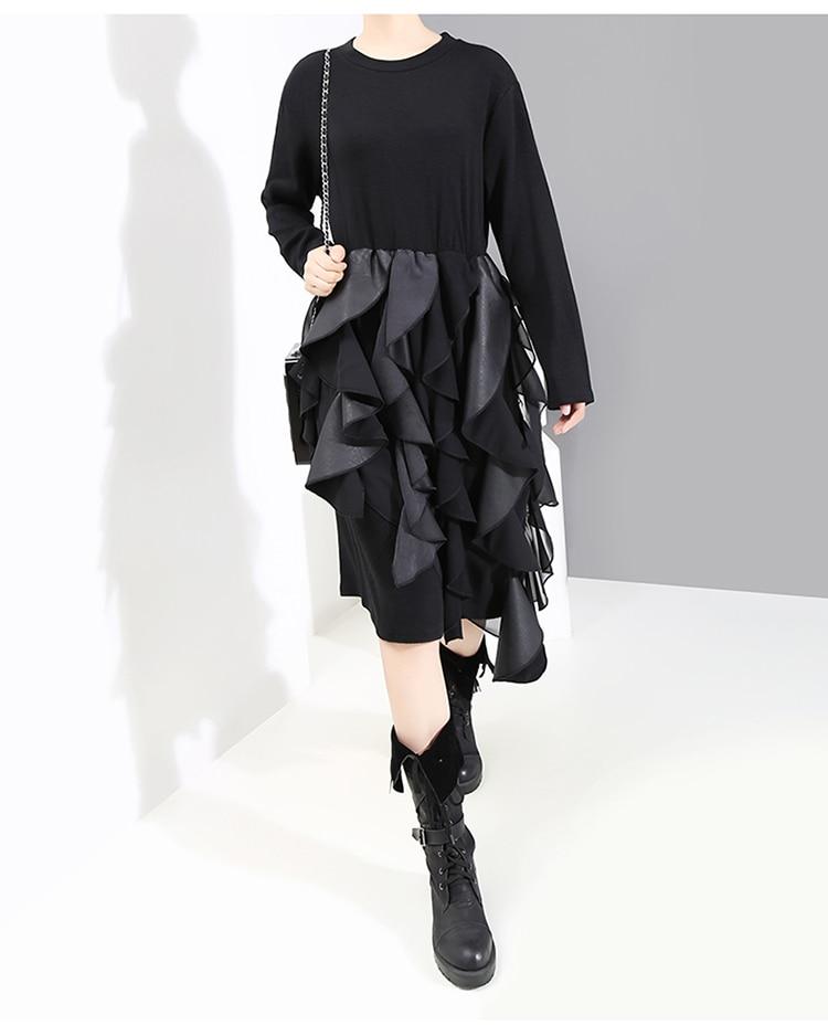 New Fashion Style PU Leather Ruffle Long Sleeve Unique Straight Dress Fashion Nova Clothing