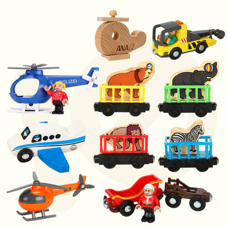 Wooden Magnetic Car Scene Airplane Helicopter Compatible With Brio Wooden Track Toys