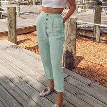 2021 Spring Summer Elegant Button Pockets Trouser Ladies Fashion Streetwears Pantalon Women Casual Solid Cotton Linen Long Pant