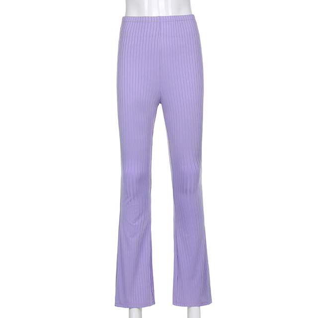 Sweetown Purple Ribbed Joggers Women Knitted Flare Pants Slim High Waist Aesthetic Trousers Female Vintage 90s Sweatpants 5