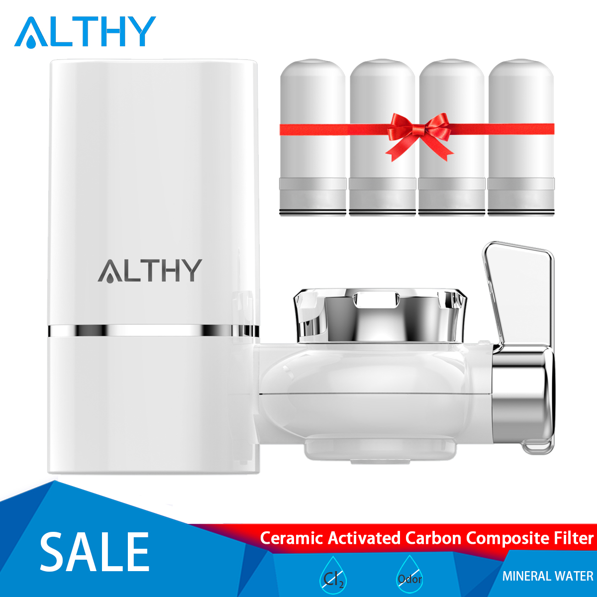 ALTHY Tap Water Filter Purifier Kitchen Faucet Water Purification System - Retain Alkaline Minerals - Remove Odor Chlorine