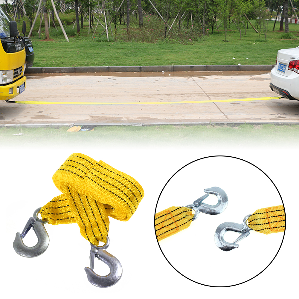 Portable 3 Tons 4 Meter Fluorescence Universal Car Tow Cable Towing Strap Rope With Hooks