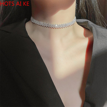 FYUAN Fashion Full Rhinestone Choker Necklaces for Women Geometric Crystal Weddings Jewelry Party Gifts image