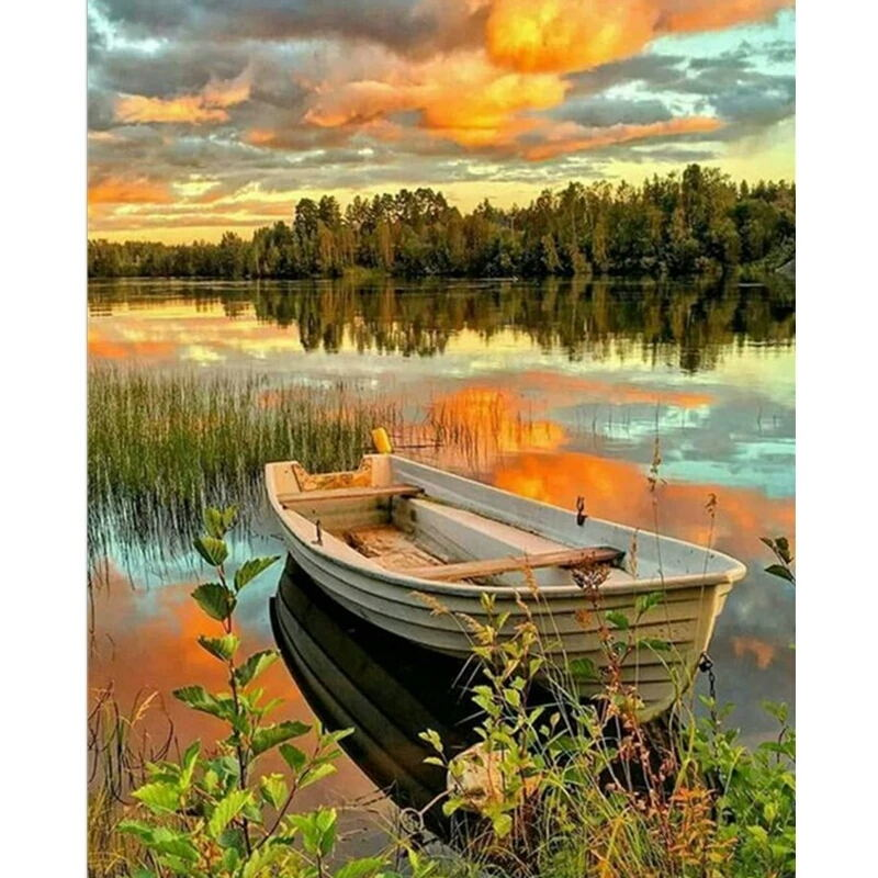 Twilight Lake View Hand Made Paint High Quality Canvas Beautiful Painting By Numbers Surprise Gift Great Accomplishment, (45)