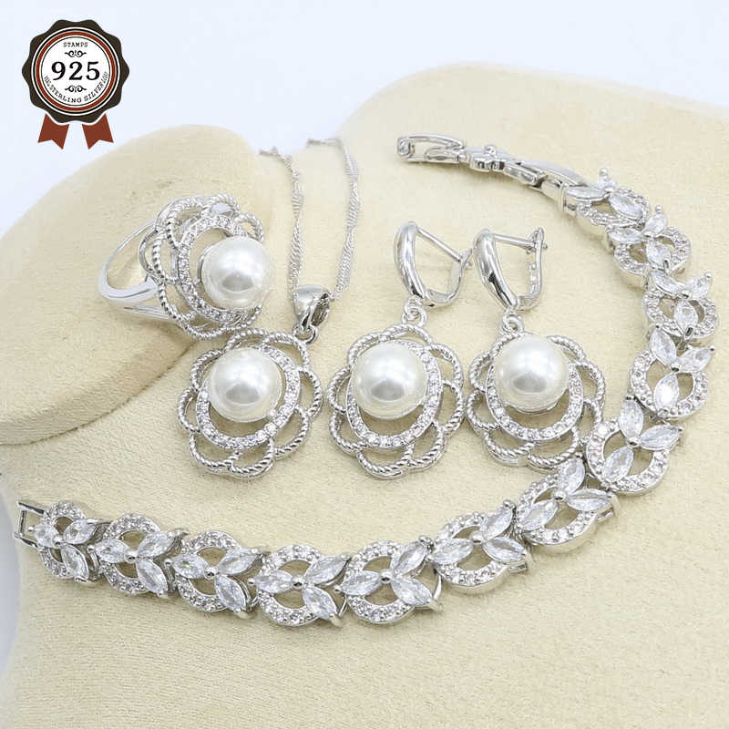 สีขาวมุกเงินชุดเครื่องประดับสำหรับสตรีสีขาว Zircon สร้อยข้อมือต่างหูสร้อยคอจี้แหวนวันเกิดของขวัญ