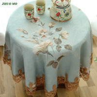 ZHUO MO Lace Flowers Round tablecloth Elegant European Rectangular table cover wedding Decoration kitchen accessories for home