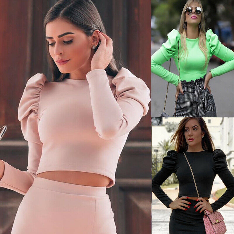 Retro Vintage Blouse Women Basic Long Sleeve Solid Top Womens Plain Cotton Top Shirt Stretch Tight Crew Neck Streetwear Vestidos
