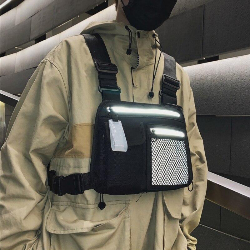 Men Chest Rig Bag Reflective Tactical Hip-hop Chest Bag Men Functional Vest Pack Male Waist Bags Abdomen Pack Shoulder Bags