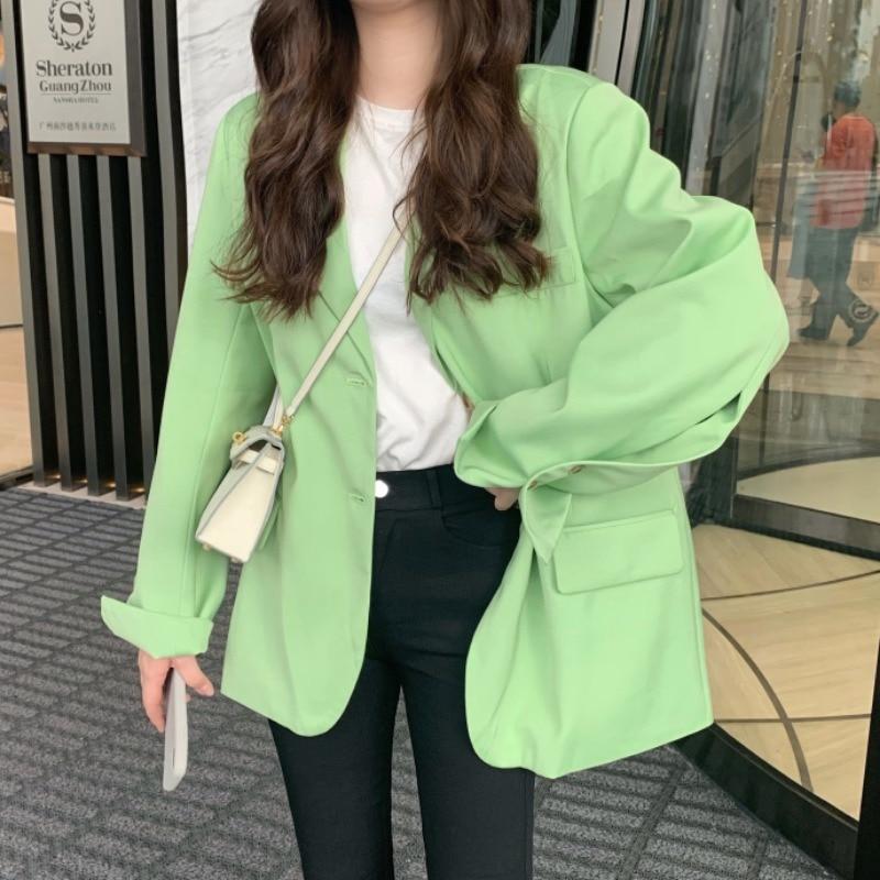 Korean Oversized White Women Blazers And Jackets Back Slit Casual Chaqueta Mujer Blazer Feminina