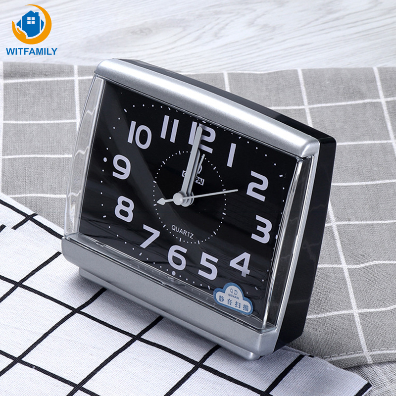 Modern Square Alarm Clock Bedroom Desktop Bed Wake Up Clocks beside student Plastic Silent Sweeping Small table Clock