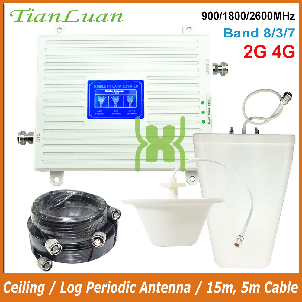 TianLuan Mobile Phone Signal Booster 2G GSM 900MHz 4G LTE 1800MHz 2600MHz B3 B7 B8 Repeater With Ceiling/Log Periodic Antenna
