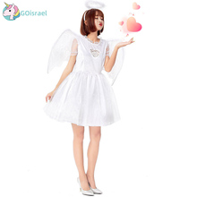 Halloween Fallen White Angel Cosplay Costume Winged Skirt Demon Evil Devil Festival Holiday