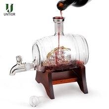UNTIOR 1000ml Wine Barrel Whiskey Decanter Nautical Liquor Dispenser Lead Free Decanter for Scotch Bourbon Cognac Rum Brandy