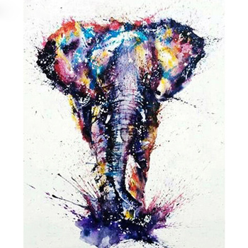 DIY Diamond Painting elephant Full Drill Round Diamond Embroidery Picture Rhinestone Diamond Mosaic Cartoon Home Decor M667 image