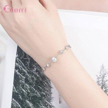 New Fresh 925 Sterlig Silver Plum Flower Pearl Charm Bangle Bracelet for Women Girl Fashion Trendy Jewelry Gift Ornament 3