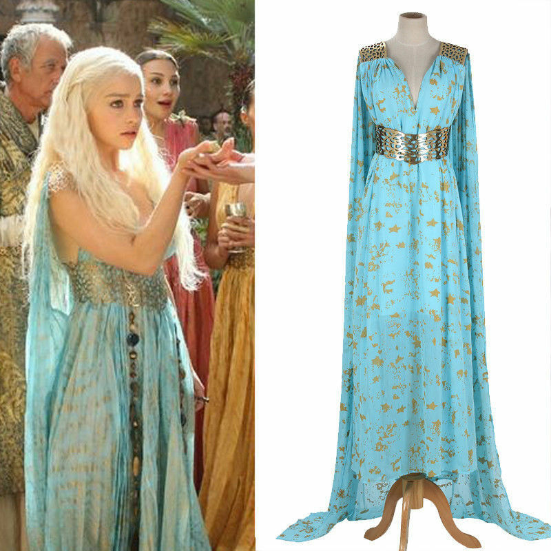 드래곤즈의 어머니 왕좌의 게임 daenerys targaryen 의상 긴 드레스 skyblue hallowmas 파티 코스프레 의상