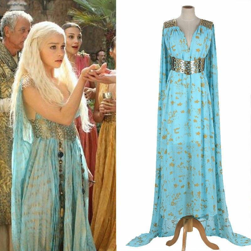 Mère de Dragons jeu de trônes Daenerys Targaryen Costume longue robe Skyblue Hallowmas fête Cosplay Costume
