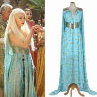 Mutter der Drachen Game of Thrones Daenerys Targaryen Kostüm Lange Kleid Skyblue Hallowmas Party Cosplay Kostüm