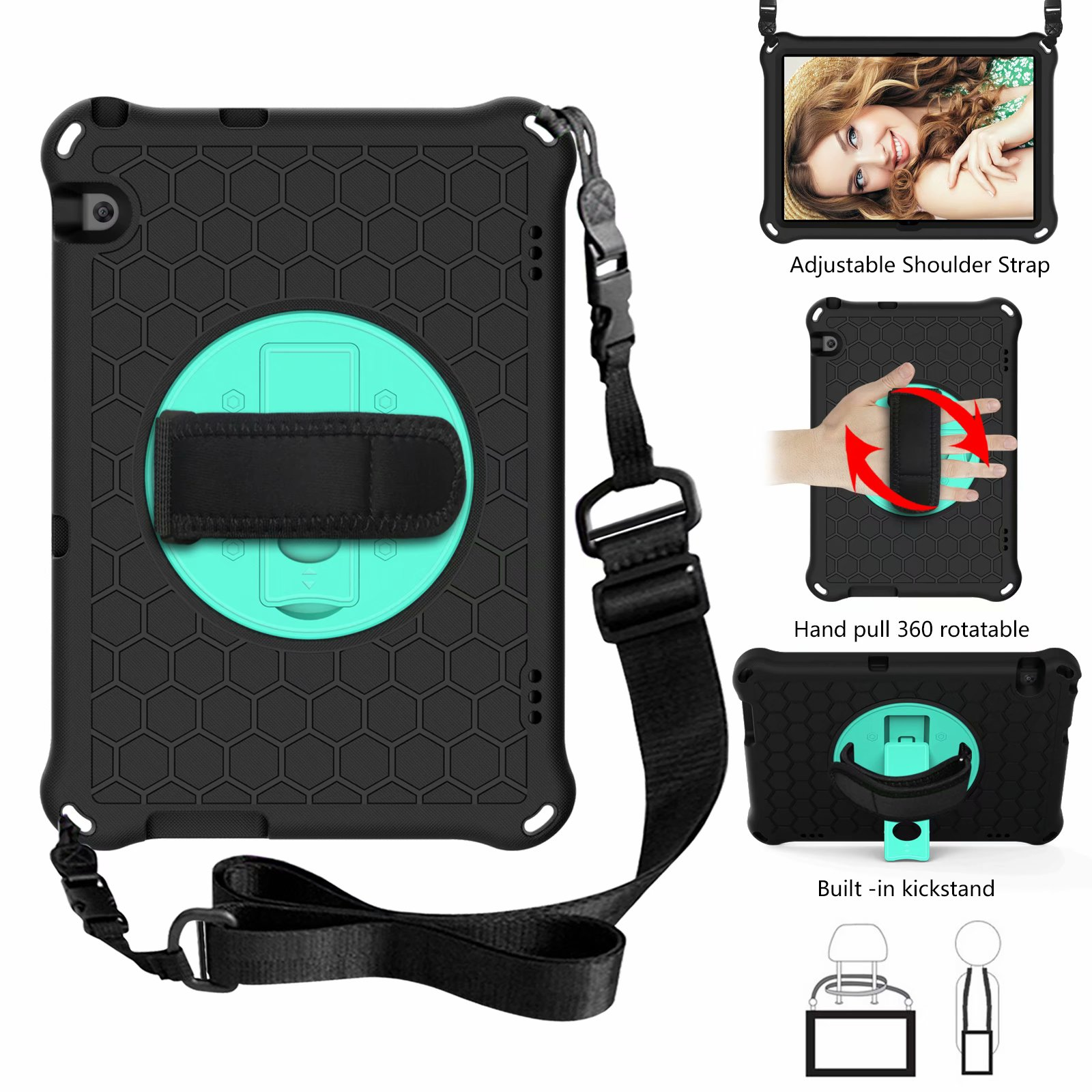 Cover Shockproof Kids Silicone Stand 360 Rotating Tablet Case for Huawei MediaPad T5 10 10.1 Inch AGS2-W09 AGS2 L09 L03 Funda