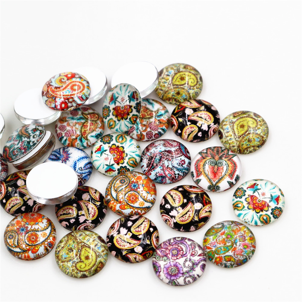 50pcs/Lot 12mm Photo Glass Cabochons Mixed Color Cabochons For Bracelet Earrings Necklace Bases Settings-C5-56