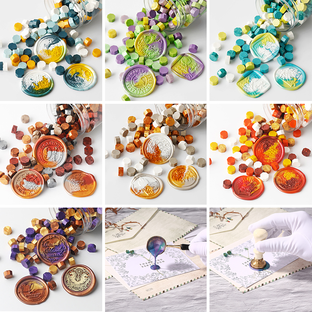 100Pcs/Lot Octagon Sealing Wax Beads DIY Stamping Wax Seal Stamps for Envelope Documents Christmas Wedding Invitation Decorative