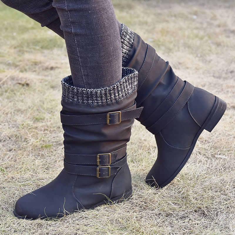 MCCKLE kadın orta buzağı çizmeler örme 2020 kış toka askı PU tıknaz topuklu kadın üzerinde kayma Retro botlar bayanlar rahat ayakkabı