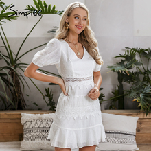 Simplee Women hollow out white dress Puff sleeve ruffled v neck bodycon dress Casual buttons beach work party retro summer dress