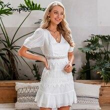 Simplee נשים הולו מתוך לבן שמלת פאף שרוול פרע v צוואר bodycon שמלת כפתורים מזדמנים חוף עבודת מסיבת רטרו קיץ שמלה